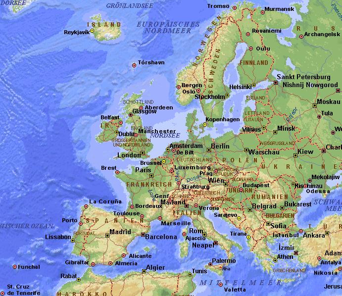 Karte Von Europa Mit Städten.Wetterstation Göttingen Reisewetter Europa